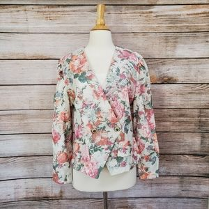 NWT Vintage CB New York Cream Floral Blazer Jacket